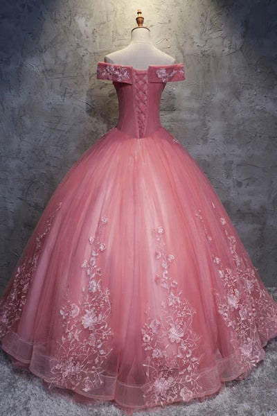 Charming Ball Gown Off-The-Shoulder Tulle Sweet 16 Dress, Quinceanera Dress