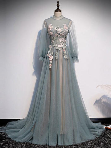 Long Sleeves Tulle Round Neckline Evening Party Dress, Light Green Prom Dress