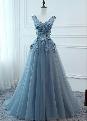 Charming Tulle V-neck Neckline Long A-line Prom Dresses Flowers, Long Evening Dress