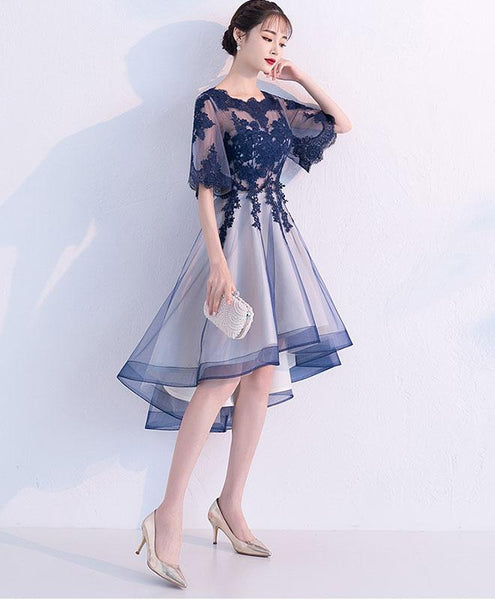 Lovely Blue High Low Lace  Tulle Homecoming Dress, Blue Party Dress