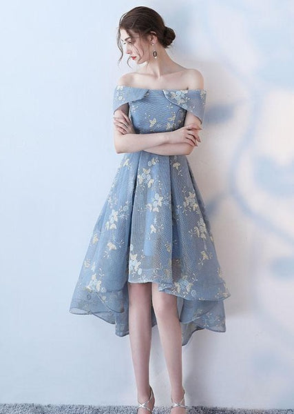Blue Off Shoulder Lace High Low Homecoming Dress, Floral Short Party Dress