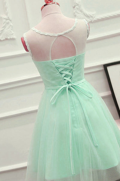 Mint Green Tulle Knee Length Party Dress with Lace Applique, Round Neckline Short Prom Dress