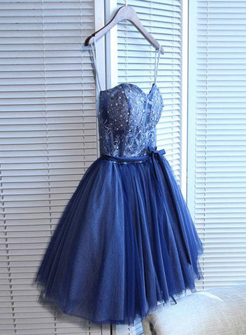 Lovely Navy Blue Tulle Short Handmade Party Dress, Blue Junior Prom Dress 2019