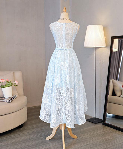 Lovely Light Blue High Low Party Dress 2019, Cute Formal Dress