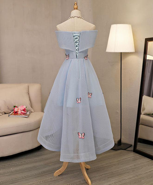 Lovely High Low Blue Tulle Party Dress, Blue Formal Dress 2019