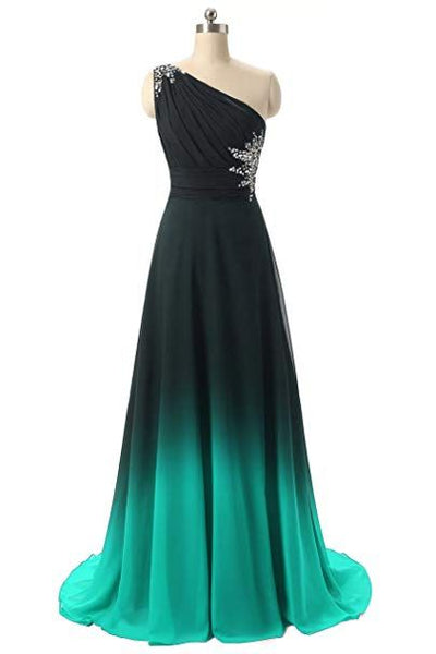 Beautiful Green and Black Gradient One Shoulder Prom Dress, Long Chiffon Party Dress