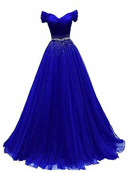 Royal Blue Beaded Long Party Gown, Off Shoulder Prom Dress