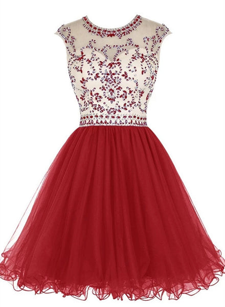 red beaded short prom dress