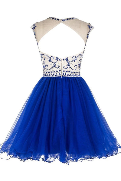 Cute Short Beaded Tulle Homecoming Dress, Backless Party Dress