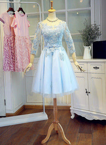Cute Light Blue Homecoming Dresses, Short Junior Prom Dress, Blue Wedding Party Dress