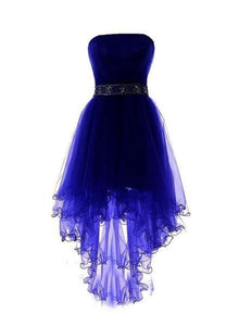 Lovely Blue Tulle High Low Party Dress 2019, Blue Homecoming Dress