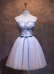 Cute Pink and Blue Homecoming Dress, Tulle Short Prom Dress 2021
