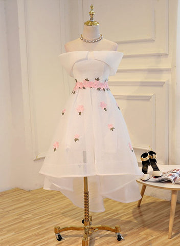 White Cute High Low Flowers Tulle Party Dress, Homecoming Dress