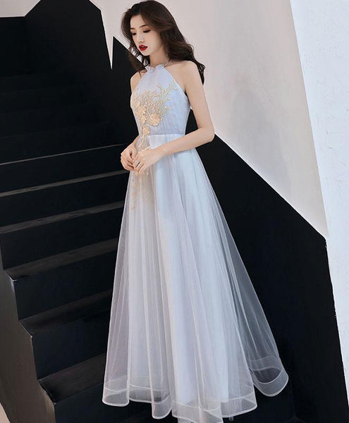 Lovely Grey Halter Long Party Gown, A-line Prom Dress