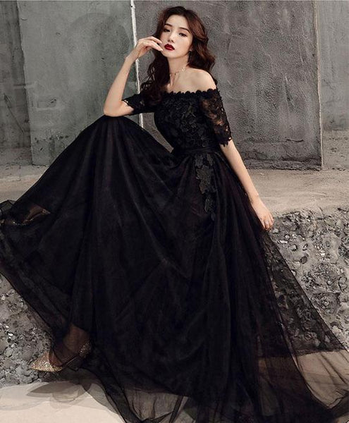 Lovely Black Tulle Long Bridesmaid Dress, Black Formal Gown
