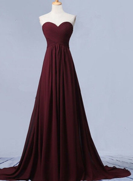 Beautiful Maroon Simple Sweetheart Chiffon Bridesmaid Dress, Long Party Dress