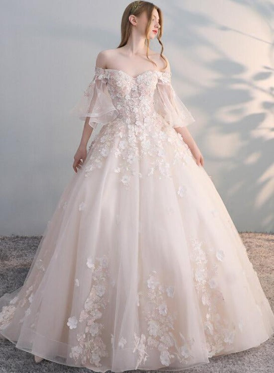 Charming Flowers Lace Off Shoulder Ball Gown Wedding Party Dress, Tulle Long Prom Dress