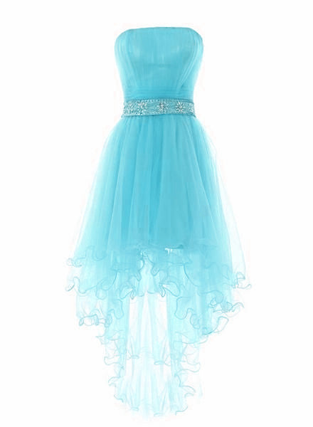 Light Blue High Low Tulle Sequins Homecoming Dress, Blue Short Party Dress