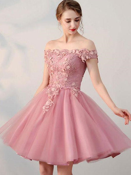 Pink Off Shoulder Lace Homecoming Dress, Short Party Dress 2020