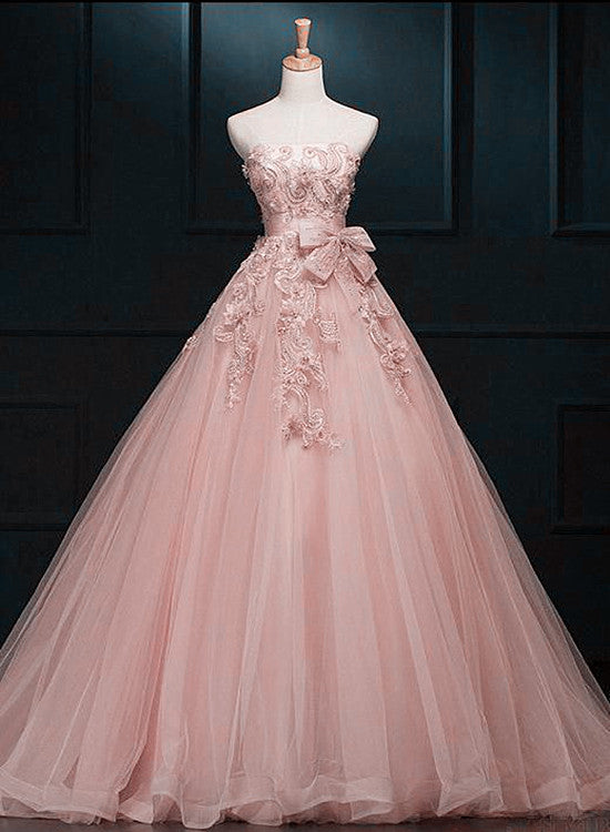 pearl pink tulle long prom dress 2020