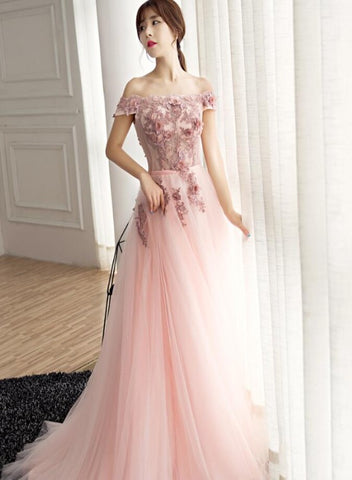 Charming Tulle Off Shoulder with Flower Long Formal Gown, A-line Formal Dress
