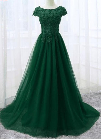 Elegant Cap Sleeve Lace Applique Tulle Party Dress 2019 Prom Gowns 2019