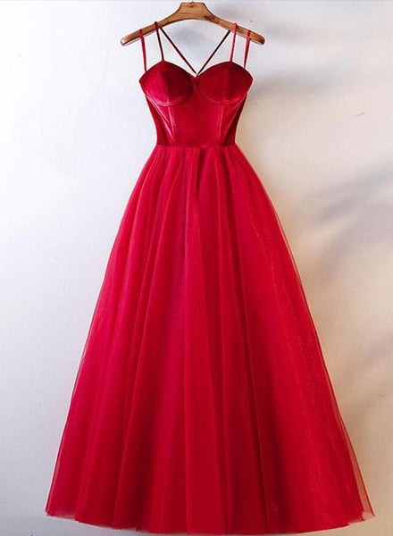 Beautiful Velvet Straps and Tulle Long Formal Dress, Red Party Gown 2019