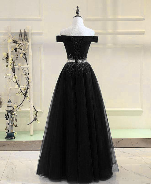 Black Tulle Off Shoulder Beaded Party Dress 2019, Black New Dress for Party