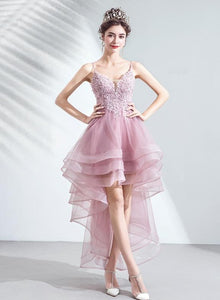 Pink Straps High Low V-neckline Tulle Lace and Beaded Prom Dress, Pink Homecoming Dress