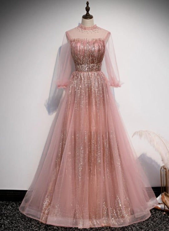 Pink Sequins Gradient Long Sleeves Tulle Formal Dress, Pink Prom Dress Party Dress
