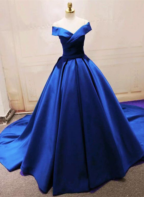 blue satin gown