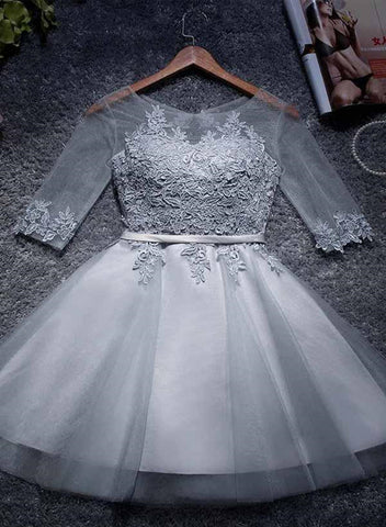 Cute Grey 1/2 Sleeves Tulle Round Neckline Party Dress 2019, Short Formal Dress 2019