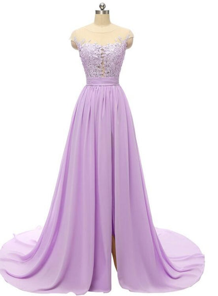 Beautiful Simple Chiffon with Lace Slit Long Prom Dress, A-line Prom Dress 2021