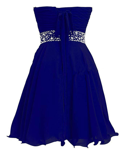 Lovely Royal Blue Chiffon Sweetheart Crystal Homecoming Dress, Short Prom Dress