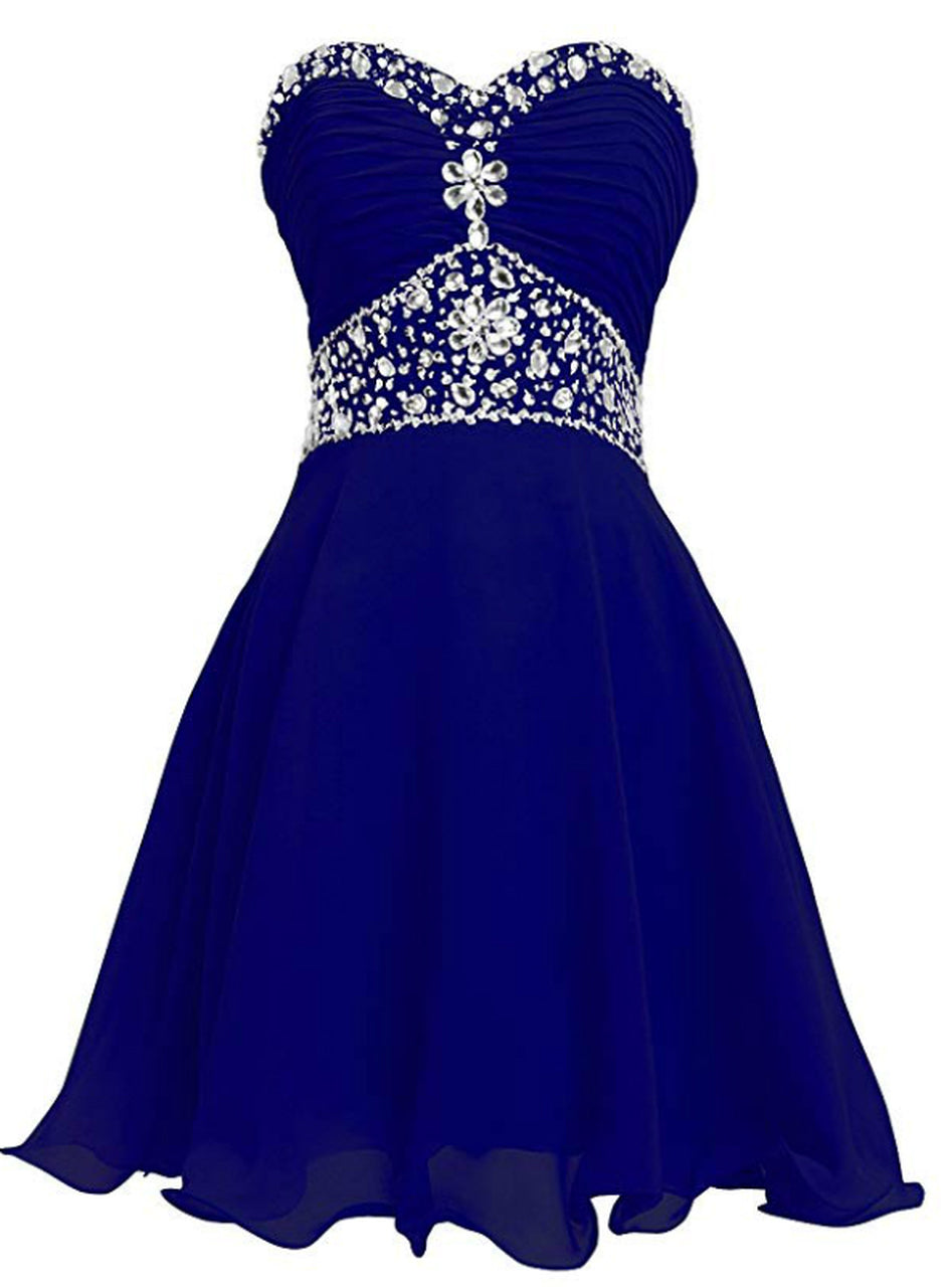 blue chiffon beaded short homecoming dress