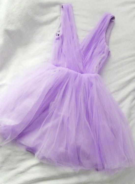 Simple Lavender V-neckline Short Tulle Party Dress,Homecoming Dress 2019