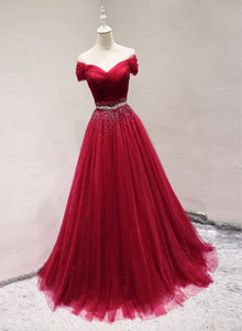 wine red tulle prom dress 2020
