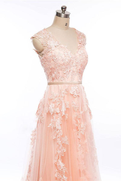 Pink Tulle with Lace Applique Round Neckline Prom Dress, A-line Formal Dress