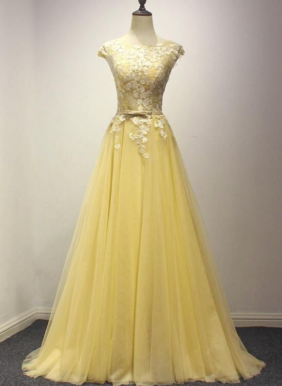 Beautiful Yellow Long Prom Dress, A-line Round Neckline Formal Dress