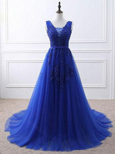 Beautiful Blue Tulle Long Prom Dress 2020, Blue Formal Gown