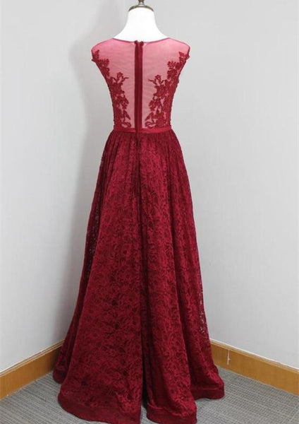 Charming Long Burgundy Lace Long Prom Dress, Lace Party Dress