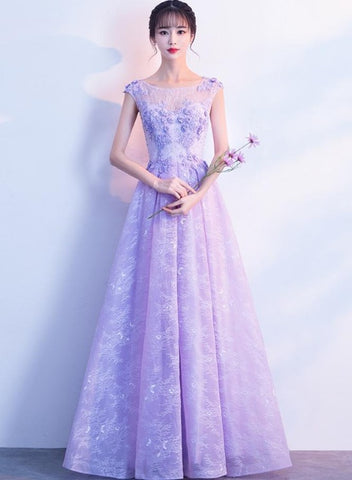 Light Purple Lace Round Neckline Long Party Dress, A-line Lavender Formal Dress