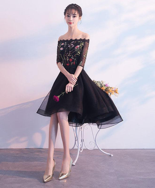 Black High Low Short Sleeves Party Dress, Floral Black Short Prom Dress Party Dress