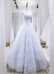 Light Blue Lace Long Party Dress, A-line Cap Sleeves Beaded Prom Dress 2021