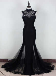 Charming Black Mermaid Backless Long Evening Dress, High Neckline Prom Dress