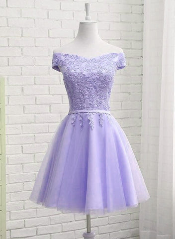 Beautiful Light Purple Short Bridesmaid Dress 2019, Tulle with Lace New Formal Dresses