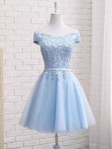 Beautiful Light Blue Off Shoulder Tulle Party Dress, Blue Homecoming Dresses 2019