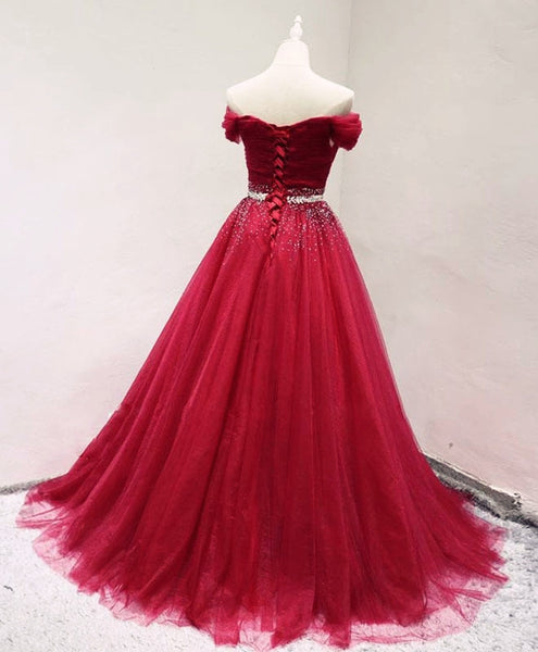 Beautiful Dark Red Tulle Off Shoulder Long Prom Dress, Beaded Party Dress