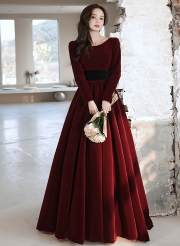 Wine Red Velvet Long Sleeves Fashionable Long Wedding Party Dress, Burgundy Long Formal Dress Prom Dress