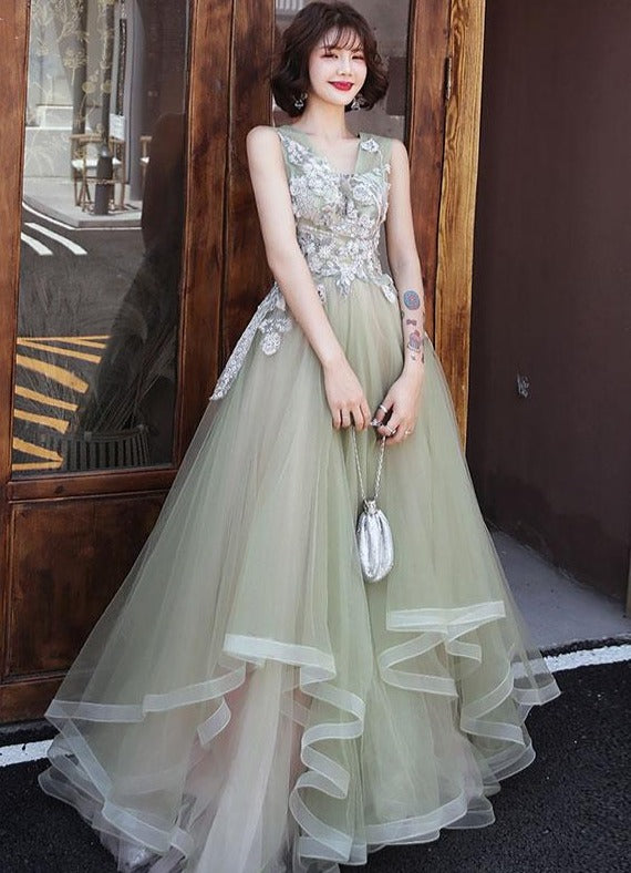 Light Mint Green V-neckline Lace Tulle Formal Dress, Layers Long Cute Party Dress Prom Dress